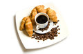 Croissant with coffee on a white background Stock Photography