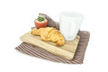 Croissant and coffee on wooden Isolated on white background Royalty Free Stock Photo