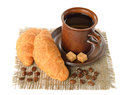 Croissant cup coffee white background Royalty Free Stock Photos