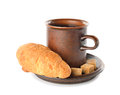 Croissant cup coffee white background Stock Photography