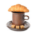 Croissant cup coffee white background Stock Images
