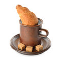 Croissant cup coffee white background Royalty Free Stock Photo