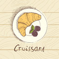 Croissant with fresh berries breakfast sketch style menu concept Royalty Free Stock Images