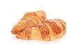 Croissant fresh casting soft whadow on white delicious Stock Photo