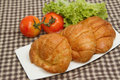 Croissant with fresh vegetable isolate Stock Photo