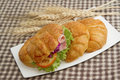 Croissant ham sandwich morning breakfast isolate Stock Images
