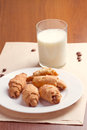 Croissant and milk on wooden table Stock Photography