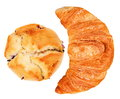 Croissant and muffin isolated Royalty Free Stock Photo