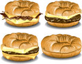 Croissant sandwiches illustration of four different Stock Photography