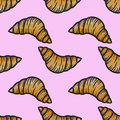 Croissant seamless pattern vector sweet cake hand drawn illustra