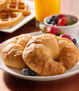 Croissants with berries at breakfast Royalty Free Stock Image