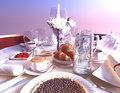 Croissants bilberry pie and beverages breakfast with Royalty Free Stock Photography