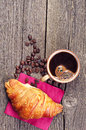 Croissants and coffee breakfast with Royalty Free Stock Photos