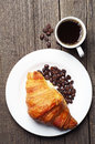 Croissants and coffee breakfast with top view Stock Images