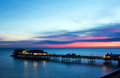 Cromer pier at sunrise on english coast Stock Images