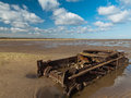 Cromwell tank i believe was used as target practice r f its located beach theddlethorpe lincolnshire england many beeches english Royalty Free Stock Photo