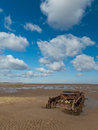 Cromwell tank i believe was used as target practice r f its located beach theddlethorpe lincolnshire england many beeches english Royalty Free Stock Photography