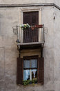 Crooked balcony and door on ancient building in the old town of verona italy Stock Photography