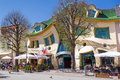 Crooked house on the monte cassino street in sopot main of poland is an irregularly shaped building of Stock Images