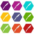 Crooked knife icon set color hexahedron