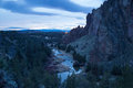Crooked river in Smith Rock state park at dusk Royalty Free Stock Photo