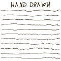 Crooked uneven hand drawn lines vector horizontal curves lines strip hand drawn set