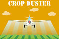 Crop duster airplane spraying a farm field. Royalty Free Stock Photo