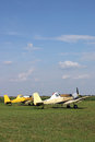Crop duster airplanes on airfield Royalty Free Stock Photo