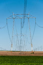 Crop field electric power towers and green and blue sky vertical Royalty Free Stock Images