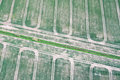 Crop fields aerial view of in england Royalty Free Stock Images