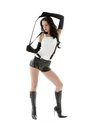 Crop games picture of dominant lady in black leather shorts with Stock Image