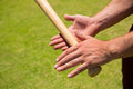 Cropped hands of player holding baseball bat Royalty Free Stock Photo