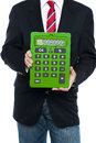Cropped image of business guy holding calculator Royalty Free Stock Photography