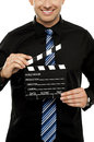 Cropped image of man with clapboard Royalty Free Stock Photography