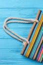 Cropped image of striped handbag. Royalty Free Stock Photo