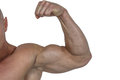 Cropped muscular man flexing bicep against white background Royalty Free Stock Photos