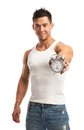 Cropped view of a muscular young man holding clock over white background it is time for workout concept Royalty Free Stock Photo