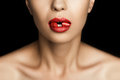 Cropped view of seductive woman with red lipstick in mouth Royalty Free Stock Photo
