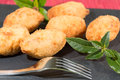 Croquettes delicious stuffed iberico ham and cheese Royalty Free Stock Photo