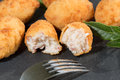 Croquettes delicious stuffed iberico ham and cheese Stock Photos