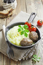 Croquettes with potato puree in a frying pan Stock Photo