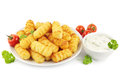 Croquettes and sour cream Stock Photo