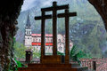 Cross and Basilica de Covadonga, from inside the holy cave II Royalty Free Stock Photo