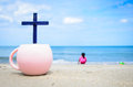 Cross on the beach. Royalty Free Stock Photo