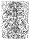 Cross. Black and white mystic concept for Lenormand oracle tarot card