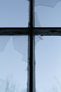 Cross and broken window Royalty Free Stock Image