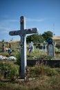 Cross on cemetery in svata helena in romania Stock Photo