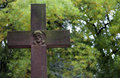 Cross on cemetery vintage background Royalty Free Stock Photography