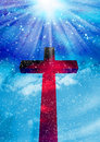 The cross with clouds background christian Stock Image