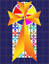 Cross on The Colorful Cristal Wall in Temple Stock Photo